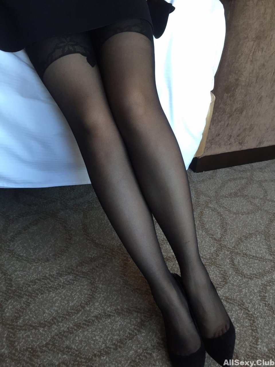 Sexy legs in black stockings